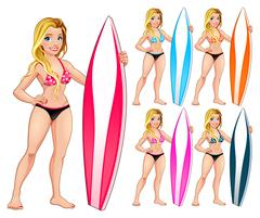 Surfer girl in different colors Stock Illustration