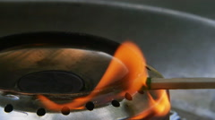 Match Lit on Fire By Penny Stove Homemade Camping Stove Slow Motion Stock Footage