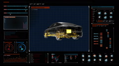 Automobile. shaft, Engine, interior. 360 degree Side view. digital display. Stock Footage