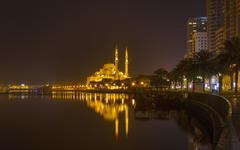 Altaqwa Mosque at night, Sharjah, United Arab Emirates - stock photo