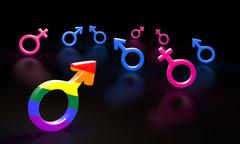 Man and woman blue pink sign. on a black background glossy symbol. gay rainbo Piirros
