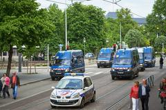 Police vans at protest Stock Photos
