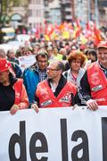People protesting against labor law - stock photo