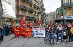 Protesters blocking city center Stock Photos