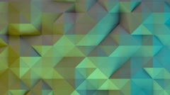 Blue and green illuminated polygonal geometric surface or background Stock Footage
