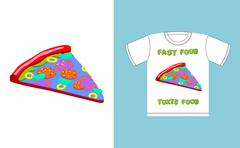 Fast food - toxic food. piece pizza in acid colors. Illustration about danger Stock Illustration