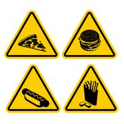 Set Warning sign fast food. Dangerous foods containing lot of fat. Many of ca - stock illustration