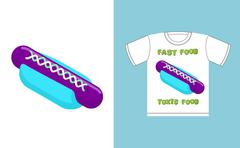 Fast food -  toxic food. Hot dog in acid colors. Illustration about dangers o Stock Illustration