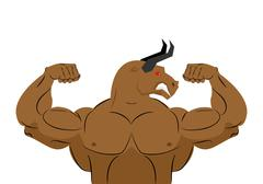 Angry bull strong athlete. Aggressive fitness animal. Wild animal bodybuilder Stock Illustration