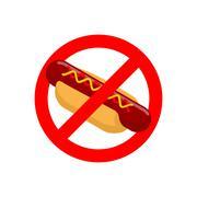 Ban hot dog. Stop fast food. Tasty sausage and bun. Emblem against harmful fo - stock illustration
