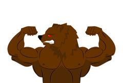 Aggressive strong Bear Bear athlete. Angry animal fitness. Wild animal sports Stock Illustration
