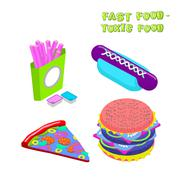 Fast food -  toxic food. Illustration about dangers of fast food. Purple pota - stock illustration
