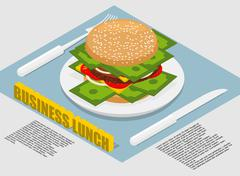 Business lunch infographics. Hamburger with money on plate. Cutlery fork and  - stock illustration