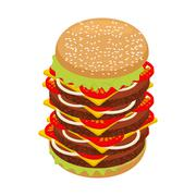 Very large hamburger. High juicy tall burger. Huge sandwich patties and cut r - stock illustration