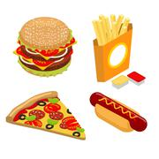 Set Fast food isometrics. Big juicy hamburger and chop. French fries in paper - stock illustration
