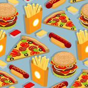 Fast food seamless pattern. Hot dog background. Juicy big hamburger. Hot fren Stock Illustration