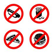 Ban fast food sign. Stop unhealthy food. It is forbidden to eat French fries. - stock illustration
