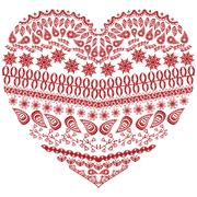 Tribal zentangle Aztec heart shape with floral elements - stock illustration
