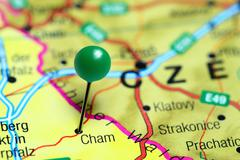 Cham pinned on a map of Germany - stock photo