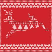 Scandinavian cross stitch Deer on red background - stock illustration