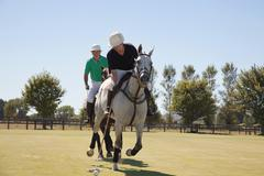 Two adult men playing polo Stock Photos