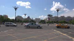 BUCHAREST ROMANIA - Circa April 2016: Rush hour traffic  in Union Square 4k uhd Stock Footage