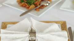 Serving table on banket Stock Footage