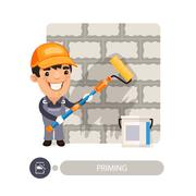 Worker Priming Wall - stock illustration