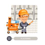 Worker Plasterimg Wall - stock illustration