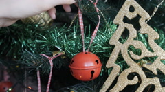 Decorate the Christmas tree, Christmas ornaments, close-up Stock Footage
