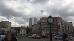 BUCHAREST, ROMANIA - CIRCA MAY, 2016: Rush Hour Traffic In Roman Square 4k UHD Stock Footage