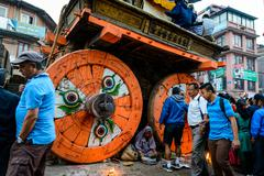Chariot of rain Rato Machhindranath procession in Patan, Nepal Stock Photos