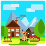 Cow on farm near the house Stock Illustration
