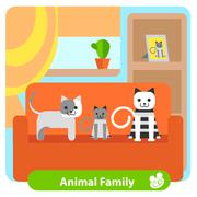 Set family cats in the room Stock Illustration