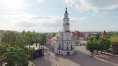 Lithuania, Kaunas, old town, townhall square aerial view. Stock Footage