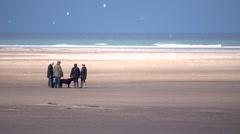 Dog walkers talk on a beach in Norfolk Stock Footage