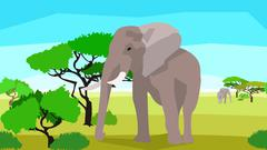 Elephant in a field with trees, seamless, animals and nature - stock illustration
