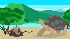 Tortoise near the river, seamless, animal and nature Stock Illustration