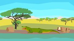 Crocodile near the river, seamless, animal, nature Stock Illustration