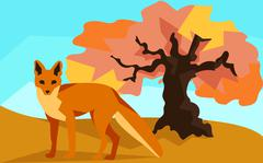 Fox on hill with oak, animals and nature Stock Illustration