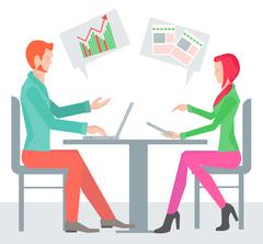 Two sitting sideways at the table business people - stock illustration