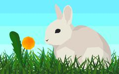 Rabbit on the grass, flower, seamless, animal and nature Piirros