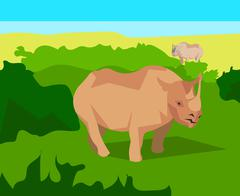 Rhino on background bushes, animals and nature - stock illustration