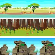 Set nature backgrounds horisontal tiled patterns seamless Stock Illustration