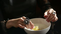 Divination with candle. woman pouring wax into the water Stock Footage