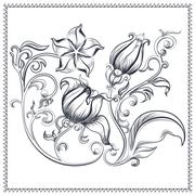 Ornate, vintage floral ornament - stock illustration