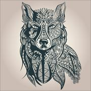 Ornamental decorative wolf, predator, pattern, Isolated - stock illustration