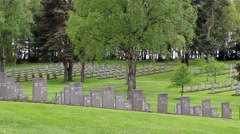 Panning shot of graves in military cemetery Stock Footage