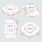 Set vintage ornamental frame, labels - stock illustration