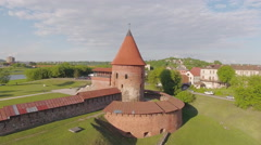 Lithuania, Kaunas castle orbiting aerial view. Stock Footage